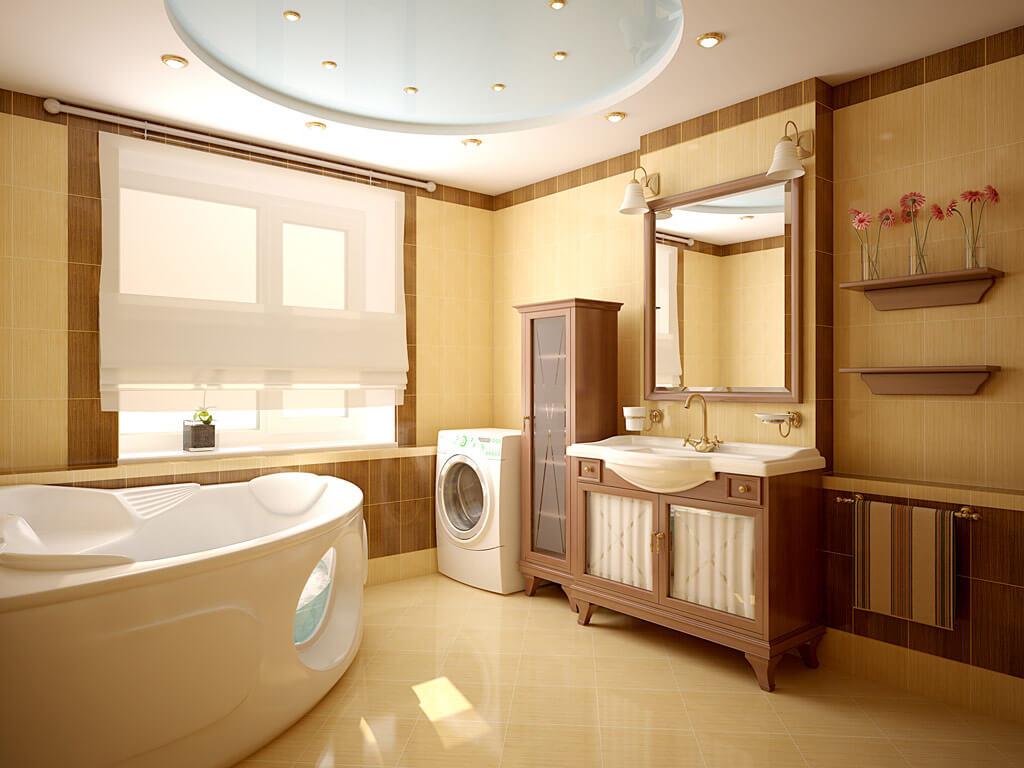 Двухуровневый потолок в ванной